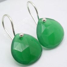 925 Silver Green ONYX Lovely Heart Dangle Earrings 2.6CM