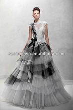 ONW320 A line Floor Length Sheer High Neck Short Sleeves Black and White Wedding Dresses 2014