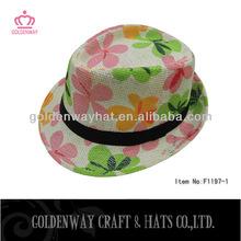Hermosa flor de la impresión de papel fedora sombreros nuevo diseño 2013 mejores sombreros barato