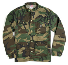Banded Collar Jacket - Woodland Camo