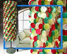 Colorful Long Capiz Floor Lamps Lighting Fixture