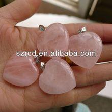 Wholesale high quality semi precious stone rose quatrz gemstone puffy heart pendant