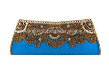 Beautiful Blue Embroidered Silk Clutch Purse/ Evening Clutch Bag