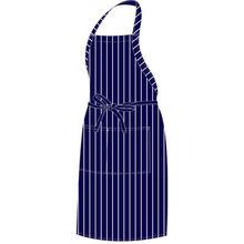 White Stripes Blue Bib Apron (Cotton/Poly Cotton)