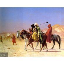 100% Handmade Arabic Landscape People on camesl Oil paintings on canvas, Arabs Crossing the Desert