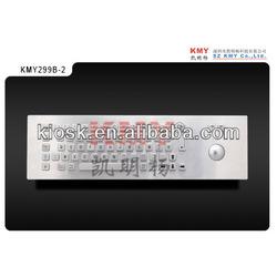 industrial medical metal keyboard with trackball, IP65, waterproof, vandal proof