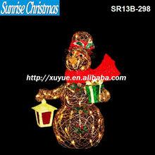 [2013 NEW] Lighted yard holiday decorations/rattan Christmas Santa lighting/lighted Christmas snowman with bird(MOQ:200PC)