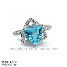 [RZR-1046]Two Hearts Silver Ring with Aquamarine CZ Stones.