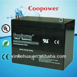 Coopower 12V Battery /12V70AH lead acid battery for UPS/Solar/EPS