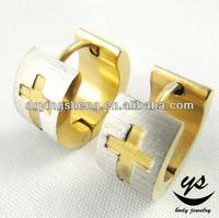 Cross carved gold earrings new model 2012 huggie style korean fashion earring
