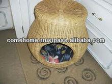 Round rattan plastic pet beg, round door
