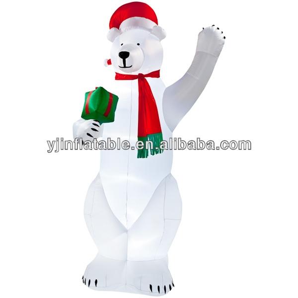 6.5 Feet Tall white inflatable Polar Bear with christmas led lights