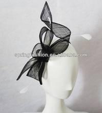 Fashion black sinamay hair fascinator