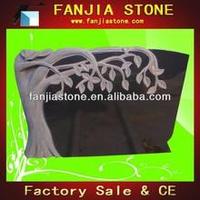 Black granite tree headstone