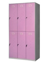 2 tier light pink 6 door steel girls wardrobe in middle school locker rooms/teenage clothes wardrobe locker furniture