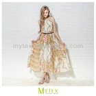 Ladies sleeveless printed fashion chiffon long dress