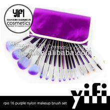 Purple case 16pcs makeup brush set beauty tool