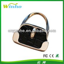 Black Leather Hand Bag Foldable Purse Hanger