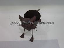 Metal cat garden pot