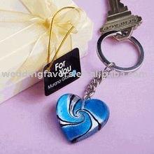 Murano Inspired Glass Heart Design Keychain Wedding Favors