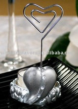 Silver Heart Place Card & Candle Holder