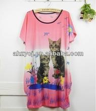 Fashion women dress summer Bohemia cat design loose dresses
