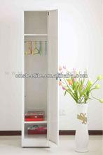 cheap slim one door cream steel almirah designs for small space/corner white wardrobe closet with hanging rod & 2 shelves