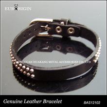 bas12102 cinghia di cuoio reale bracciale con borchie