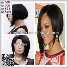 Short Bob Natural black silky straight Virgin Brazilian rihanna style short full lace wig