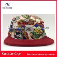 Flower Beautiful Printing 5 Panel Hat Blank Design And Red Corduroy Fabric Flat Brim