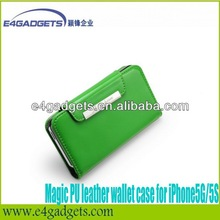 High quality flip leather case for iphone5 stand case with card holders
