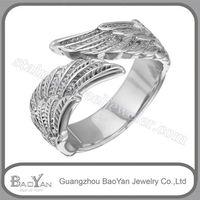 de nuevo modelo de anillo plata de acero inoxidable de forma pluma, de moda 2013 y 2014