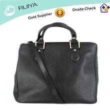 Royal Modern Women Handbag in soft matte black embossed snakeskin print leather tote bag with detachable shoulder strap -HB-120