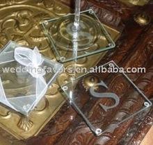 Engraved Monogram Glass Coaster