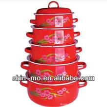 red color with printing ,enamelware casserole set with metal lid