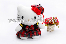 Most famous colour plush cute kitty cat with red cat stuffed soft with plush soft