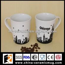 11OZ white&black stoneware handpainted mug