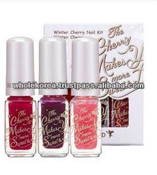 Skin food / Nail / Nail polish 3 color / Nail art / Cherry / Pink / Red