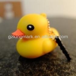 High Class Yellow duck silicone dust plug 3.5mm ear cap, cute animal phone charm,cartoon phone dust plug