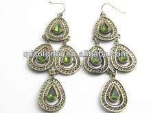 YE10565 emerald crystal green earrings jewels