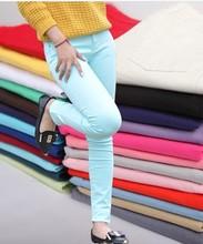 F70012R Han edition color candy color pants female big yard stretch velvet color little pencil jeans