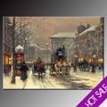 Pinturas al óleo de la calle parís escenas, las calles de parís en invierno la nieve del paisaje, para el hogar decoración de la pared pintura al óleo sobre lienzo caliente pro