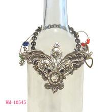 WM-10545 Silver Fleur de Lis Shaped Chain Wine Charm for Wine Bottle Decoration