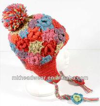 Girl hand crochet flower pattern winter earflap hat/toque