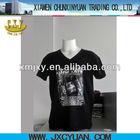 men's t shirt v-neck short sleeve cheap DTG printing china manufacturer