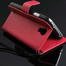 For galaxy i9500 stand flip leather case , high quality fashion wallet leather case for samsung s4