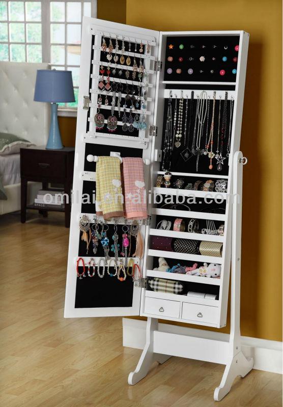Miroir Sur Pied En Bois Bijoux : cheval bijoux armoire NC-PANINT portes en bois miroir de maquillage