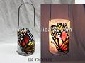 Vidrio manchado suncatcher, manchado de mariposa de cristal de la lámpara