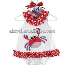 Kids clothing lovely crab dress baby girl's summer romper