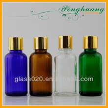 colorful essential oil glass bottles with gold screw top/glass container for sale
